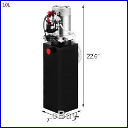 10 Quart 12Volt Hydraulic Pump Power Unit+Metal Reservoir for Trailer Lifting