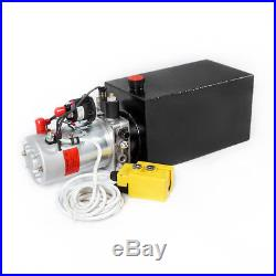 10 Quart Single Acting Dump Trailer Hydraulic Pump+Metal Reservior Fit for Lift