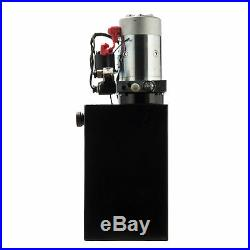 12 VDC Double Acting Hydraulic Pump for Dump Trailers with15 Quart Metal Reservoir