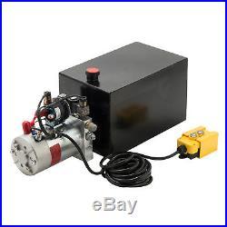 12 Volt Double Acting Hydraulic Pump for Dump Trailer 15 Quart Metal Reservoir