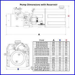 12 Volt Hydraulic Pump for Dump Trailer 10 Quart Steel Double Acting