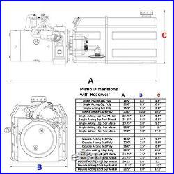12 Volt Hydraulic Pump for Dump Trailer 13 Quart Poly Single Acting