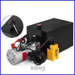 12 Volt Hydraulic Pump for Dump Trailer 15 Quart Steel Single Acting