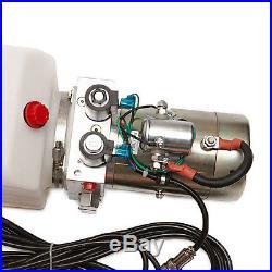 12 Volt Hydraulic Pump for Dump Trailer 6 Quart Poly Double Acting