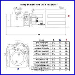 12 Volt Hydraulic Pump for Dump Trailer 6 Quart Steel Single Acting