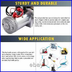 12 Volt Hydraulic Pump for Dump Trailer 8 Quart Poly Double Acting