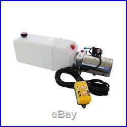 12 Volt Hydraulic Pump for Dump Trailer 8 Quart Poly Single Acting