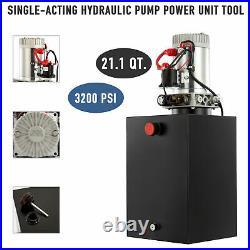 12 Volt Single Acting Hydraulic Pump for Dump Trailer 20 Quart Metal Reservoir