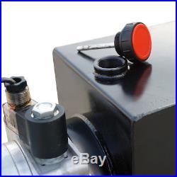 12 Volt Single Acting Hydraulic Pump for Dump Trailer 8 Quart + Controller