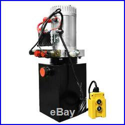 12V 6 Quart Double Acting Hydraulic Pump Power for Dump Trailer- 3200 PSI Max