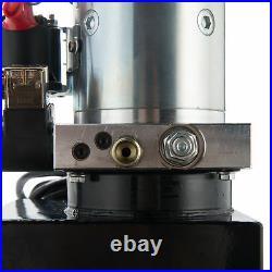 12V Double Acting Hydraulic Pump for Dump Trailer 10 Quart Metal Reservoir
