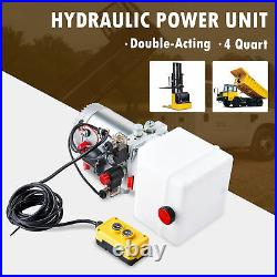 4 Quart 12V Double Acting Hydraulic Pump for Woodsplitter Dump Bed Tow Plow More