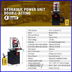4 Quart 12V Double Acting Hydraulic Pump w Metal Tank for Tailgate Lifts