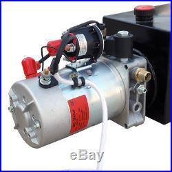 6 Qt Quart 12 Volts Hydraulic Pump Power Supply Unit Single Acting for Unloading