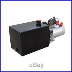 6 Quart Single Acting Dump Trailer Hydraulic Pump+Metal Reservior Fit for Lift