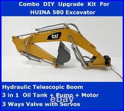 COMBO DIY KIT For HUINA 580 Excavator- Hydraulic Boom, Valve, Servos, Pump, Tank