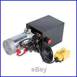 DC 12 Volt Hydraulic Pump for Unloading 8 Quart Metal Reservoir, Double Acting