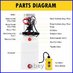 Hydraulic Pump for Dump Trailer 12 Volt- Double Acting 6 Quart Poly