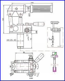 Hydraulic hand pump for double acting cylinder, closed center. 2.75in3, 2320 PSI