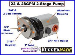 Log Splitter Hydraulic Kit, 22 GPM Pump, Mount, Coupler For Speeco & Many Others